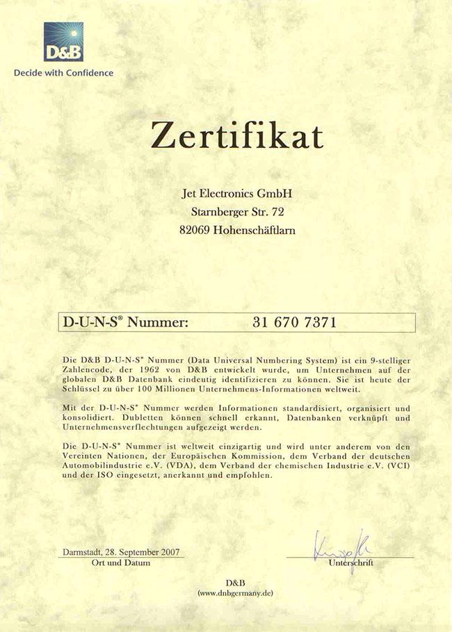 D&B-Zertifikat